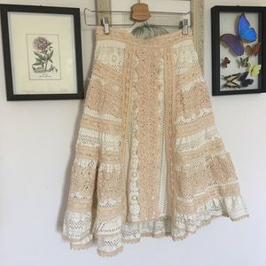 Anthropologie Eri + Ali crochet midi skirt